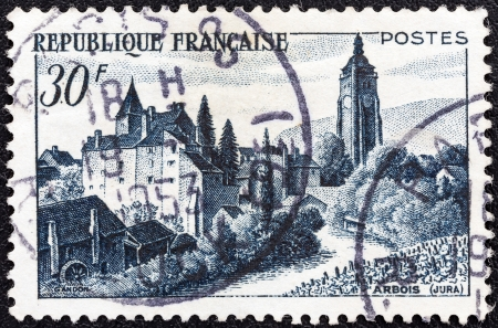 FRANCE - CIRCA 1951: A stamp printed in France shows Chateau Bontemps, Arbois, circa 1951.