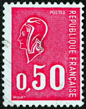 phrygian: FRANCE - CIRCA 1971: A stamp printed in France shows Marianne type Bequet, circa 1971.