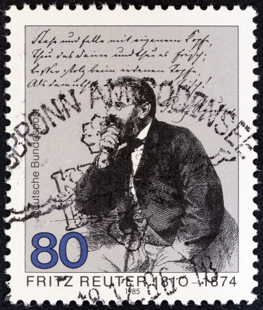 bundes: GERMANY - CIRCA 1985: A stamp printed in Germany issued for the 175th death anniversary of Fritz Reuter shows writer Fritz Reuter, circa 1985.