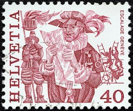 SWITZERLAND - CIRCA 1977: A stamp printed in Switzerland from the Regional Folk Customs issue shows Escalade, Geneva, circa 1977.