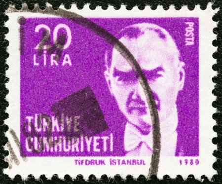 TURKEY - CIRCA 1980: A stamp printed in Turkey shows a portrait of Kemal Ataturk, circa 1980.  Stock Photo - 19765954
