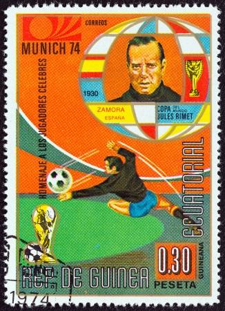 martinez: EQUATORIAL GUINEA - CIRCA 1974: A stamp printed in Equatorial Guinea from the Football World Cup 1974, Germany: Footballer issue shows Ricardo Zamora Martinez (Spain), circa 1974.