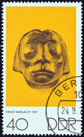 stempeln: GERMAN DEMOCRATIC REPUBLIC - CIRCA 1970: A stamp printed in Germany from the The Art of Nagel, Kollwitz and Barlach issue shows Sculptured head from Gustrow Cenotaph (Ernst Barlach), circa 1970.