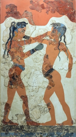 Boxeo chicos fresco de Akrotiri, Santorini, 1550 BC photo