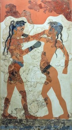 Boxing boys fresco from Akrotiri, Santorini, 1550 BC