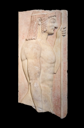 Greek grave stele shows a young doryphoros  550 BC , isolated on black photo
