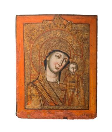 virgen maria: Nuestra Se�ora de Kazan tipo de icono sagrado, que representa a la Virgen Mar�a y Jes�s, 19a ciento Foto de archivo