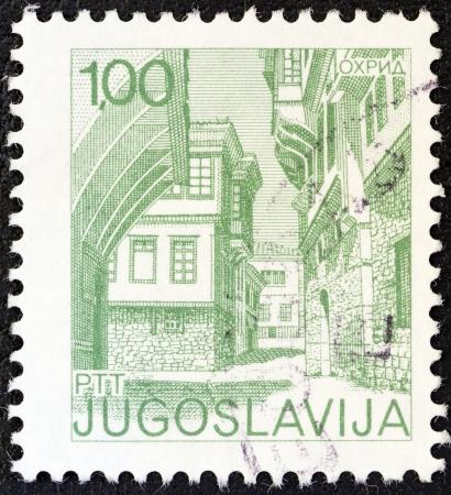 yugoslavia: YUGOSLAVIA - CIRCA 1971: A stamp printed in Yugoslavia from the Tourism issue shows Ohrid, circa 1971.