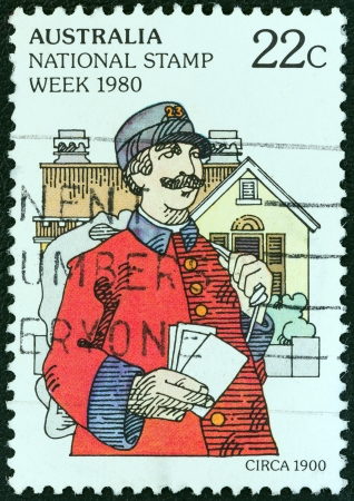 facing right: AUSTRALIA - CIRCA 1980: A stamp printed in Australia from the National Stamp Week issue shows postman, facing right, circa 1980.