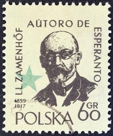 ポーランド - 1959 年頃: 印刷スタンプ ポーランド国際エスペラント大会、ワルシャワ、出産のために発行で博士 l. ザメンホフの生誕 100 周年はルート