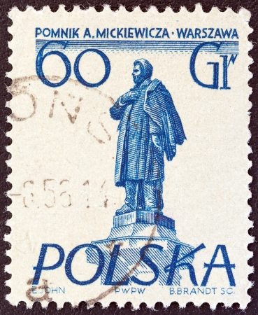 mickiewicz: POLAND - CIRCA 1955: A stamp printed in Poland from the Warsaw Monuments issue shows Mickiewicz monument, circa 1955.