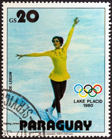 PARAGUAY - CIRCA 1979: A stamp printed in Paraguay from the Winter Olympics, Lake Placid 1980 issue shows Dianne De Leeuw, Netherlands, figure skating, circa 1979.