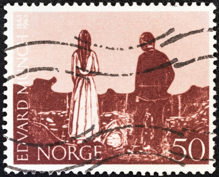 munch: NORWAY - CIRCA 1963: A stamp printed in Norway issued for the birth centenary of Edvard Munch (painter and engraver) shows The Solitaries, circa 1963.