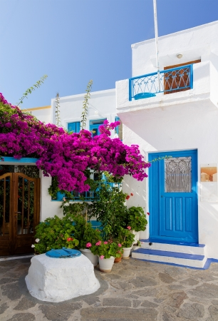 Traditional cycladic architecture in Plaka village, Milos island, Greece  photo