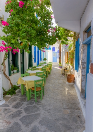 Colorful alley in Plaka village, Milos island, Cyclades, Greece
