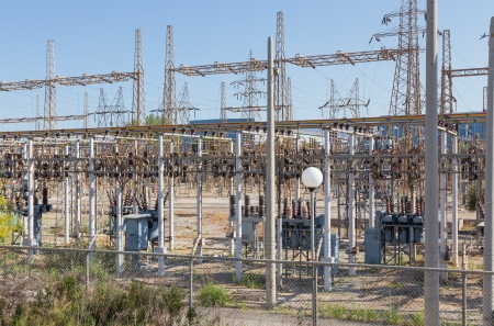 sub station: Electrical high voltage substation Stock Photo