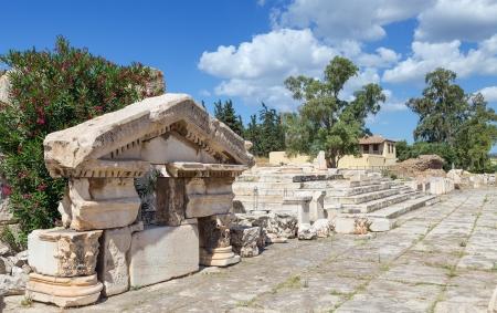 Greater Propylaiain pediment, ancient Eleusis, Attica, Greece Stock Photo
