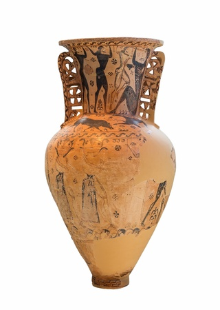 companions: Proto-Attic Greek amphora with a depiction of the blinding of Polyphemos by Odysseus and his companions  7th century BC   Stock Photo