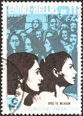 stempeln: GREECE - CIRCA 1975: A stamp printed in Greece from the International Womens Year issue shows women looking to the future, circa 1975.  Editorial