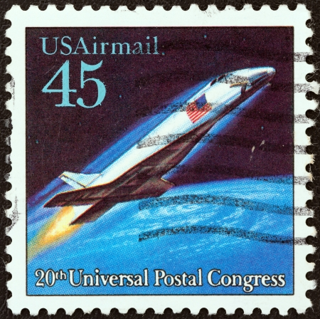 upu: USA - CIRCA 1989: A stamp printed in USA from the Futuristic Mail Delivery issue shows a hypersonic airliner, circa 1989.  Editorial
