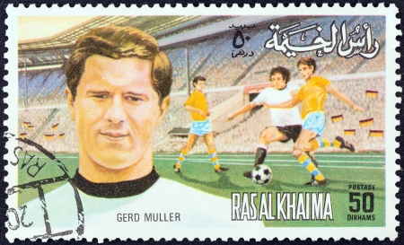 stempeln: RAS AL-KHAIMAH EMIRATE - CIRCA 1972: A stamp printed in United Arab Emirates from the European Football (Soccer) Players issue shows Gerd Muller, circa 1972.