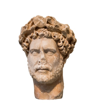 Head of Roman emperor Hadrian  Reign 117-138 AD , isolated photo