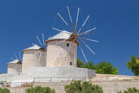 伝統的な風車 Alacati の, イズミル県, トルコ