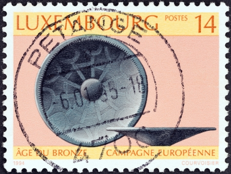 LUXEMBOURG - CIRCA 1994: A stamp printed in Luxembourg issued for the European Bronze Age Research Campaign shows Bronze Age bowl, circa 1994.