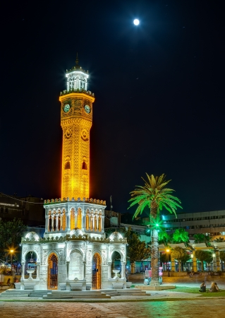 Izmir Clock Tower under the moonlight, Turkey photo