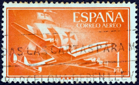SPAIN - CIRCA 1955: A stamp printed in Spain shows Air Lockheed L-1049 Super Constellation aircraft and Caravel, circa 1955.  Stock Photo - 20527036