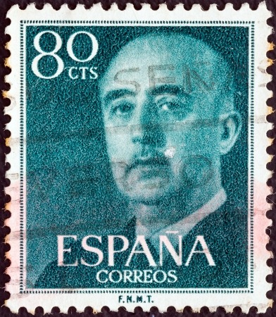 SPAIN - CIRCA 1955: A stamp printed in Spain shows a portrait of Francisco Franco, circa 1955.  Editorial