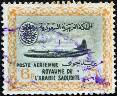 vickers: SAUDI ARABIA - CIRCA 1960: A stamp printed in Saudi Arabia shows a Vickers Viscount 800 airplane, circa 1960.  Editorial