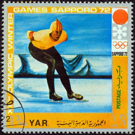 YEMEN ARAB REPUBLIC - CIRCA 1972: A stamp printed in Yemen from the  XI Olympic Winter Games, Sapporo issue shows speed skating, circa 1972.