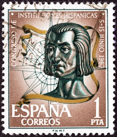 colonizer: SPAIN - CIRCA 1963: A stamp printed in Spain from the Spanish Cultural Institutions Congress issue shows Christopher Columbus, circa 1963.