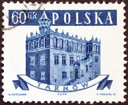 town halls: POLAND - CIRCA 1958: A stamp printed in Poland from the Ancient Polish Town Halls issue shows Tarnow, circa 1958.  Editorial