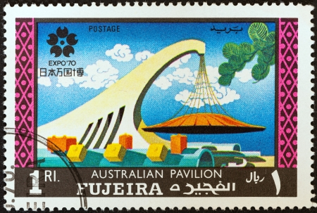 FUJAIRAH EMIRATE - CIRCA 1970: A stamp printed in United Arab Emirates from the Worlds Fair - EXPO 70 - Osaka, Japan issue shows Australian pavilion, circa 1970.  Editorial