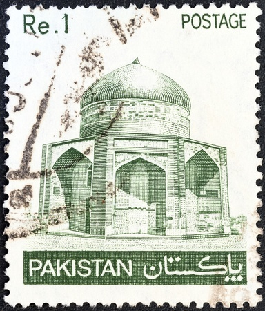 PAKISTAN - CIRCA 1978: A stamp printed in Pakistan shows Mausoleum of Ibrahim Khan Makli, Thatta, circa 1978.  Stock Photo - 20804712
