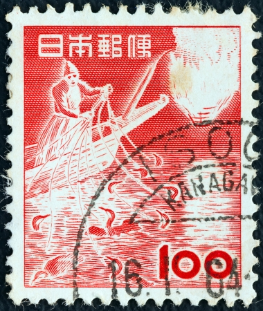 JAPAN - CIRCA 1952: A stamp printed in Japan shows fishing with Japanese Cormorants, circa 1952.