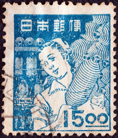 JAPAN - CIRCA 1948: A stamp printed in Japan shows a Mill Girl, circa 1948.