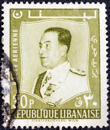 libani: LEBANON - CIRCA 1960: A stamp printed in Lebanon shows President Fuad Chehab, circa 1960.