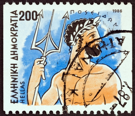 olympian: GREECE - CIRCA 1986: A stamp printed in Greece from the Gods of Olympus issue shows god Poseidon, circa 1986.