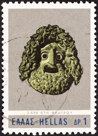 GREECE - CIRCA 1966: A stamp printed in Greece from the 2,500th anniversary of Greek Theatre issue shows Tragedians Mask of 4th Century BC, circa 1966.
