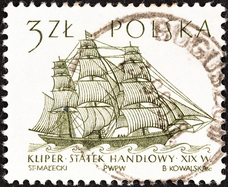 polska: POLAND - CIRCA 1964: A stamp printed in Poland from the Sailing Ships (2nd series) issue shows Flying Cloud (clipper, 19th century) , circa 1964.  Editorial