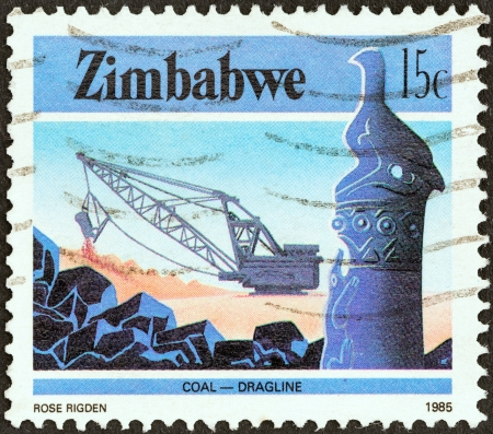 dragline: ZIMBABWE - CIRCA 1985: A stamp printed in Zimbabwe from the National Infrastructure issue shows Dragline coal mining, circa 1985.