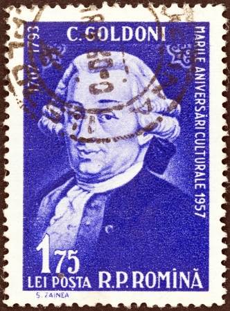dramatist: ROMANIA - CIRCA 1957: A stamp printed in Romania from the Cultural Anniversaries issue shows Carlo Goldoni (dramatist, 250th birth anniversary), circa 1957.  Editorial