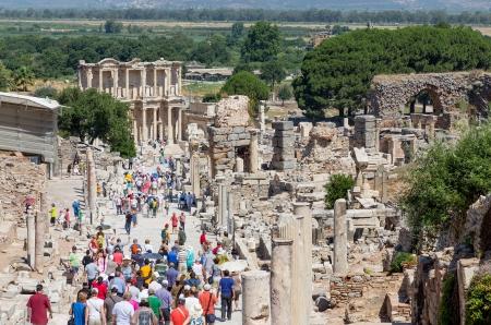 turkiye: Curetes street and Celsus library, Ephesus, Turkey Editorial
