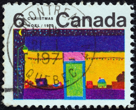 CANADA - CIRCA 1970  A stamp printed in Canada from the  Christmas  Children s Drawings  issue shows Toy Shop  N  Whateley , circa 1970   Editorial