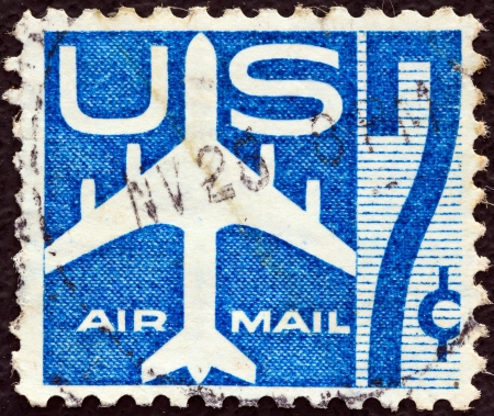 timbre: USA - CIRCA 1960  A stamp printed in USA shows a Jet Silhouette, circa 1960   Editorial