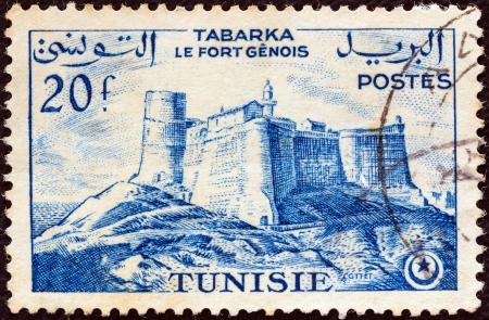 TUNISIA - CIRCA 1954  A stamp printed in Tunisia shows Genoese Fort, Tabarka, circa 1954