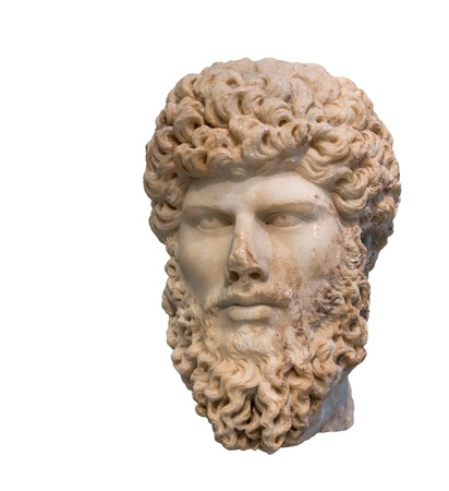 Head of Roman emperor Lucius Verus  Reign 161-169 AD , isolated  photo